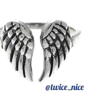 Sterling Silver Adjustable Angel Wings Ring